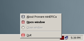 3.4.1 Other Buttons of the mini-epica Management GUI Minimize Window button Used to minimize the mini-epica GUI into taskbar.