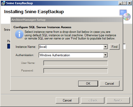 After setup finishes the 5nine EASY Backup Management service will be automatically started.