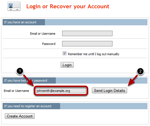 Login or Recover your Account Page This will take you to the Login or Recover your Account page. 1.