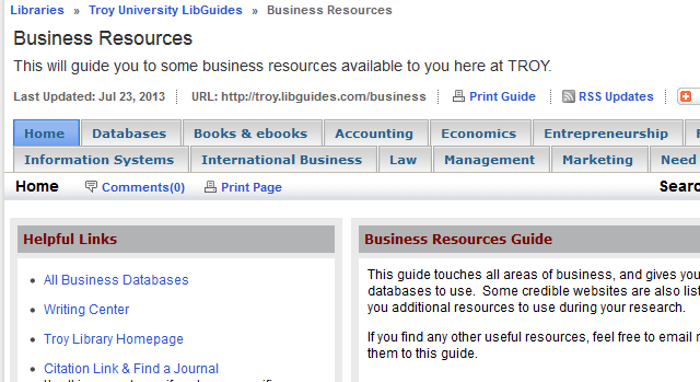 TROY UNIVERSITY LIBRARY: Business Administration 5 III. LIBGUIDES Research assistance, subject guides, and useful resources compiled by your friendly librarians.