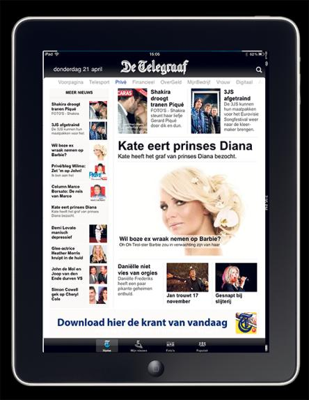 Online advertising ipad advertising Raad van bestuur E-mail advertising Targeting Telegraaf HD App (free download). Optimal for ipad (sliding, video and photos). Best rated Ipad news app.