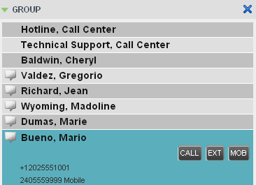 Figure 41 Group Panel Contact in Focus The following table lists the action buttons available in Call Center.