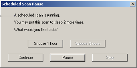 Symantec Endpoint Protection client basics Pausing and delaying scans 49 To pause a scan 1 When the scan runs, in the scan dialog box, click the pause icon.