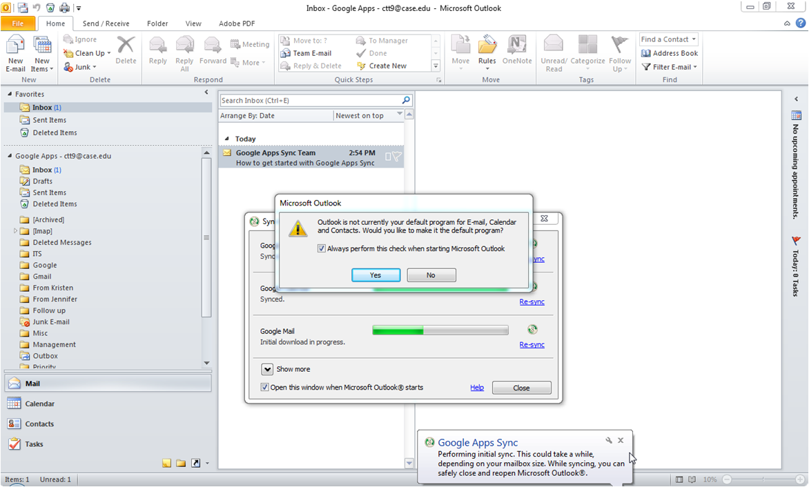 23. Google Apps Sync will synchronize the Outlook client with the Google Mail web interface. 24.