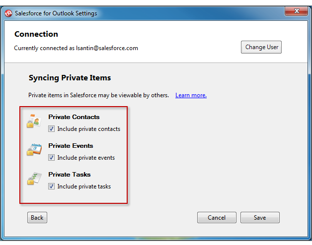 Install and Set Up Salesforce for Outlook Choose to sync individual contacts, events, and tasks. You ll mark items you want to sync with the Sync with Salesforce category in Outlook. 8.