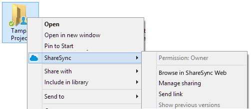MANAGING SHARING PERMISSIONS IN THE SHARESYNC DESKTOP FOLDER When exploring ShareSync files from the My ShareSync folder, there are several right-click options available, depending on the permission
