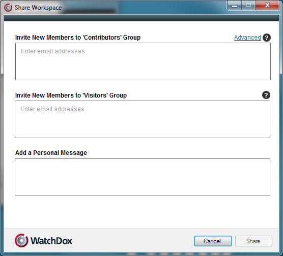 6 Share Workspaces You can share a workspace with other users by right-clicking on the workspace folder, selecting WatchDox > Share. Note: This feature is available for workspace administrators only.