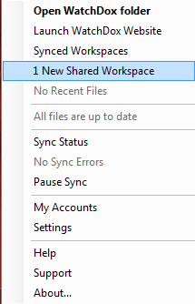 12 Syncing New Workspaces If you are invited to sync a new workspace, a notification appears.
