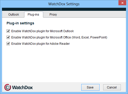 21 Settings Enabling plugins Right-click the WatchDox icon in the taskbar, and select Settings. In the Plug-ins tab, select the plugins that you want to enable, as desired.