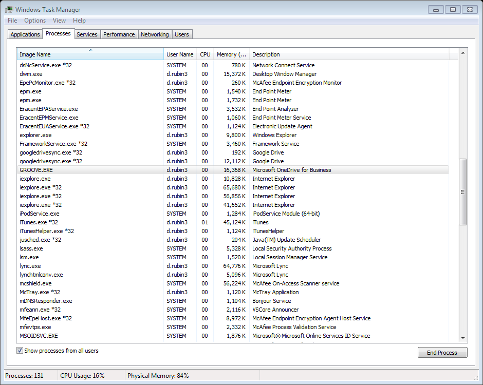 1. In Task manager, click the Processes tab at the top and close all Office processes (i.e. groove.
