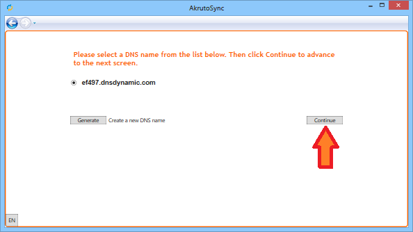 AkrutoSync will generate a DNS name. Click Continue as shown in the screenshot below.