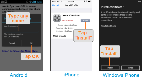 If you are setting up sync with the Windows Phone, AkrutoSync screen looks like shown below.