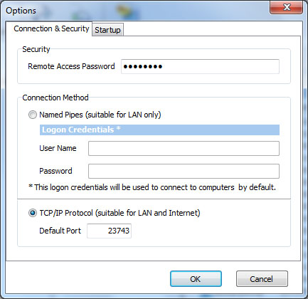 10 3.5.1 Connection & Security Remote Access Password Named Pipes - User Name - Password TCP/IP Protocol - Default Port - Specifies the password to access remote computer with SmartSync Pro.