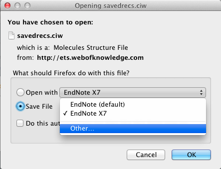 1.3.2 Firefox on Macintosh Your EndNote library should be open before attempting to import references. There is a known issue with direct export and EndNote libraries saved as a package (.