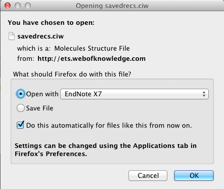 This should bring up a window like the one below. Navigate to the Applications/EndNote folder and select the EndNote application. Then click on the Open button.