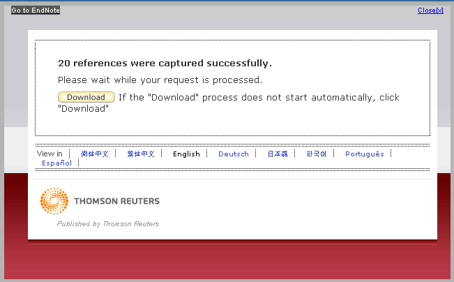 3.5.3.2 Results for Capture Bookmarklet in Google Chrome on Windows When you see the screen below, select my.endnote.