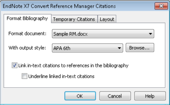 Select Convert Reference Manager Citations to EndNote from the drop-down Convert Citations and Bibliography list in the Bibliography group.
