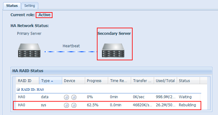 7. After reboot the unit, you may check the HA status and found the Primary Server is acting as standby role.