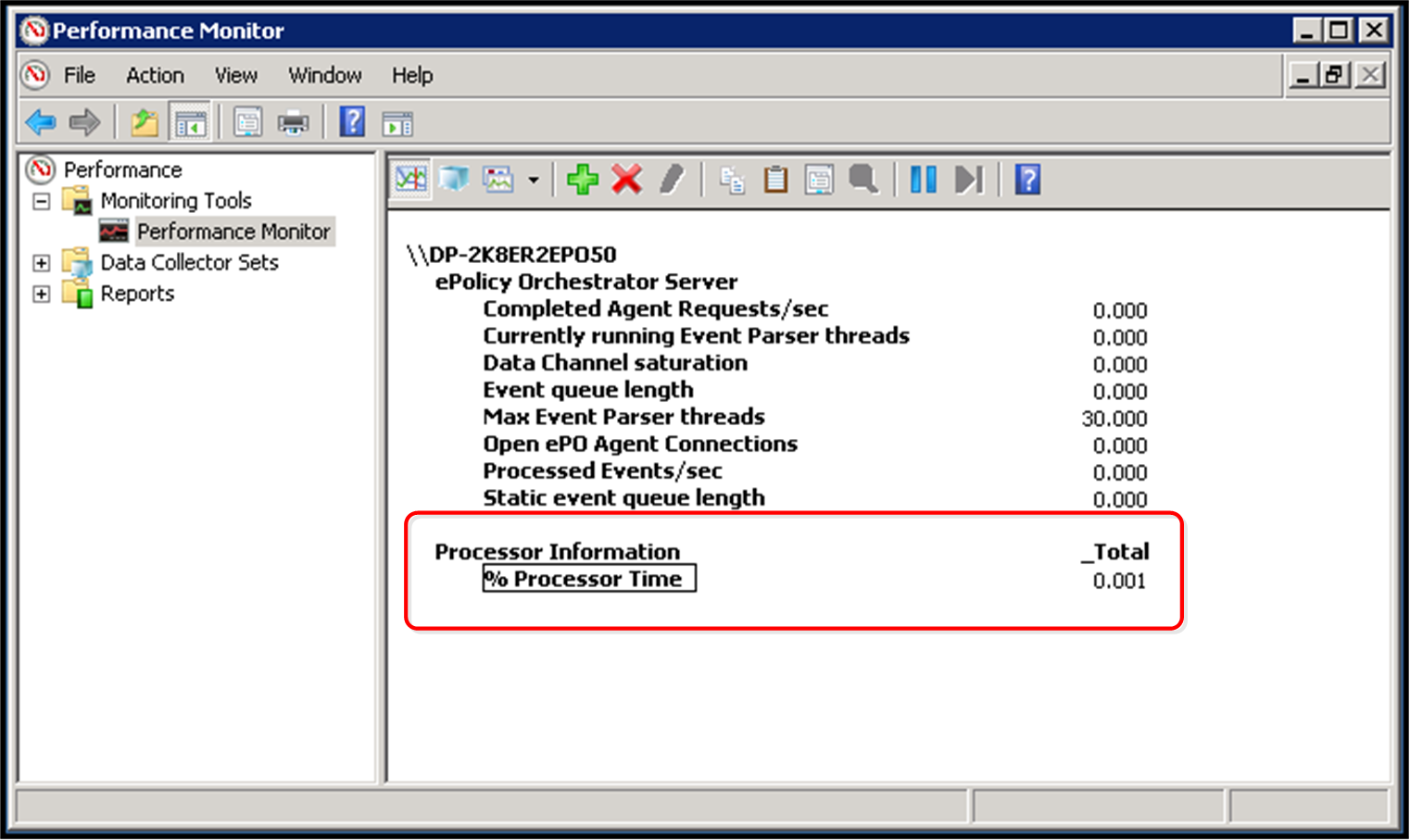 "Maintaining your McAfee epo server Monitoring server performance 9 Use ""perfmon"" with epolicy Orchestrator The 32-bit Windows Reliability and Performance Monitor is a tool to develop server"