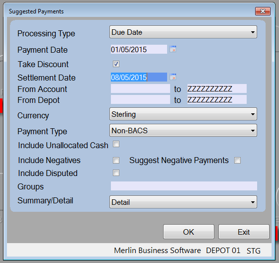 Suggested Payments Routine The Suggested Payments routine is used to suggest payments which are due for payment as at a future date.