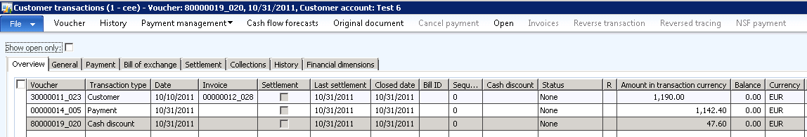 Close the form and post the payment Check the customer account: AX 2012 Cash Discount and Settlement 6.