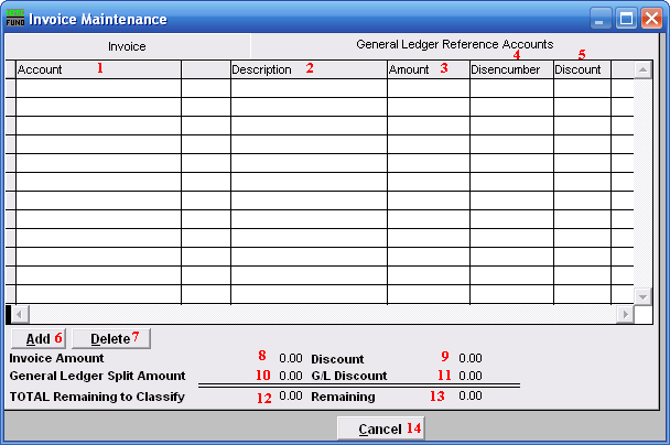 The General Ledger Reference Accounts tab The General Ledger Reference Accounts tab is used to input General Ledger account number(s) that total to the amount due on the invoice screen. 1.