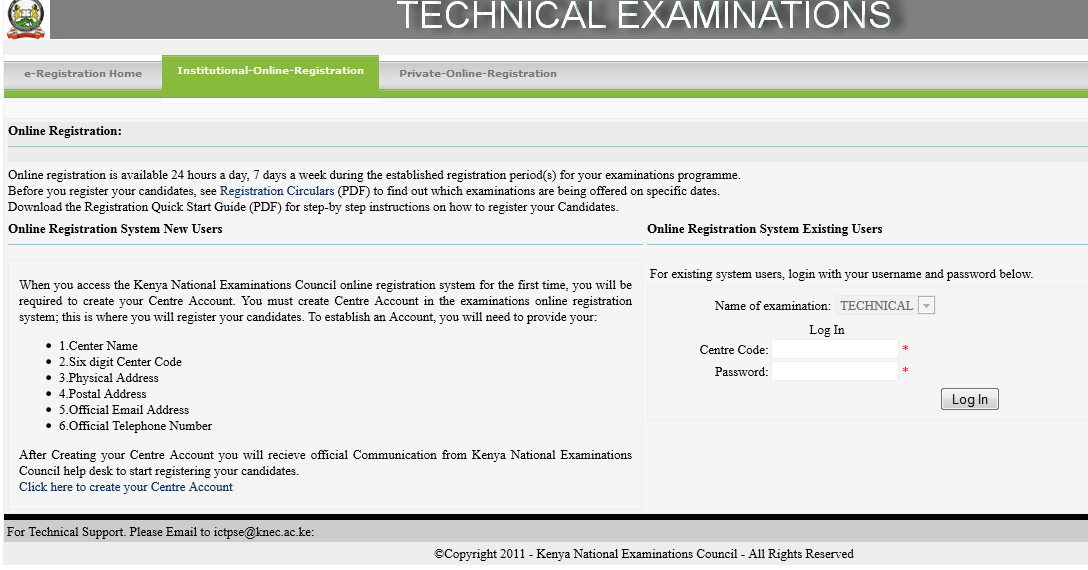 1 From Figure 2 above, select and click the specific exam to register. In this figure, a technical examination has been selected as highlighted in (1).