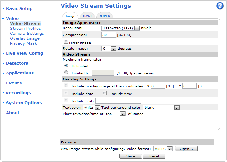 Video Video It is possible to configure the following video features in your Axis product: Video stream. See page 15. Stream profiles. See page 16. Camera settings. See page 17. Overlay image.