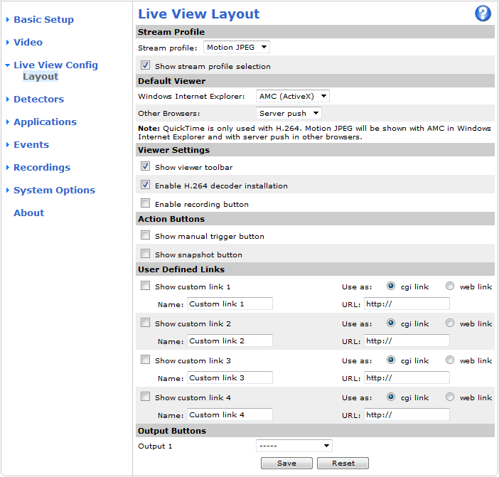 Live View Config Live View Config You can customize the Live View page and alter it to suit your requirements. It is possible to define the following features of the Live View page. Stream Profile.