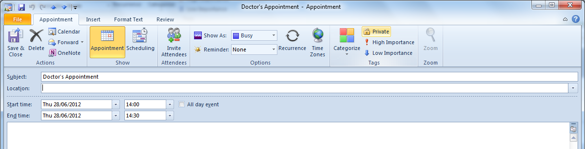 5. If you need to move the appointment to a very different time (further than you can conveniently drag), then you can use the cut and paste keyboard shortcuts.