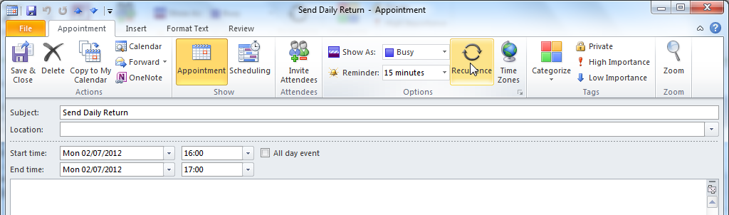 Setting Appointments as Recurring Some appointments happen at the same time every day (or every week/month etc).