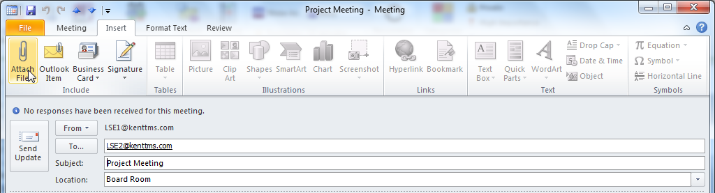 Adding Attachments to Meeting Invitations A meeting invitation is a kind of email message. You can include an attachment just like in an ordinary email.