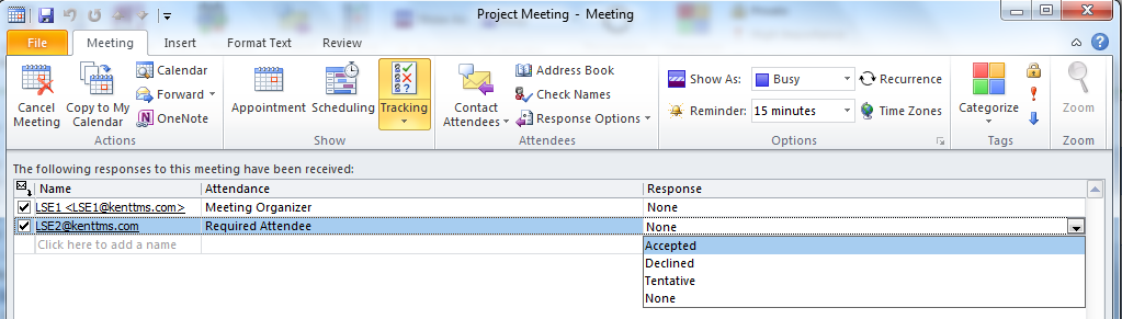 4. In each option you will be prompted as to whether or not you wish to send a response to the meeting organiser.
