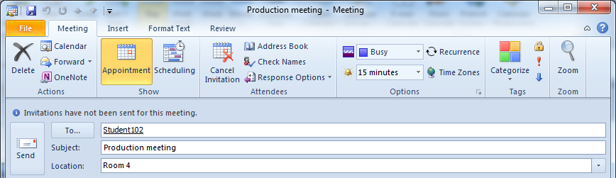 Setting an expiry date for a meeting invitation Use the Meeting Properties dialogue box to set parameters for a meeting invitation before sending. 1. Create the meeting as normal. 2.