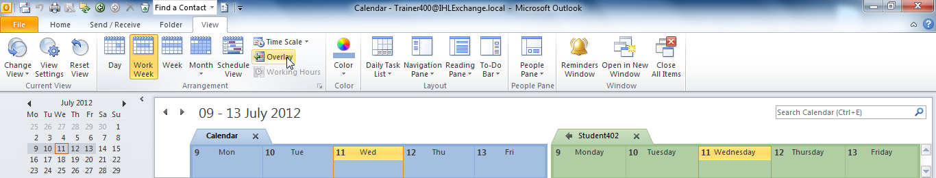 You can also change the Outlook view from Day, as it is here, to Work Week, Week, Month, etc. and both calendars will adopt the new view together.