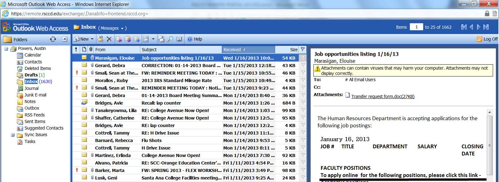 Outlook Web Access will open in a new browser window. 61. Mailbox view is indicated next to the Inbox in the header.