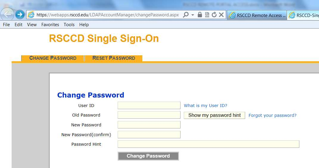 link will redirect users to the RSCCD password management page.