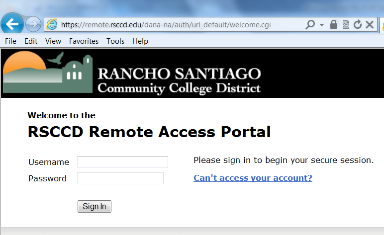 3. Users who may be unsure of their RSCCD User ID and/or password, or are having issues logging onto the RSCCD Remote Portal can click the Can t access your account?