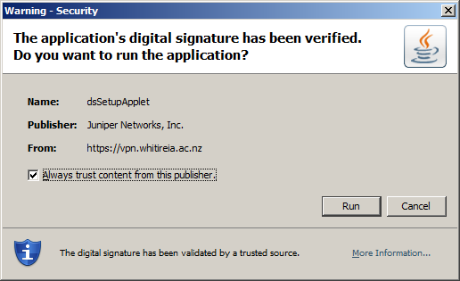 When you click on a link for the first time, the following pop up message may appear Security Certificate Click to place a tick in the Always trust