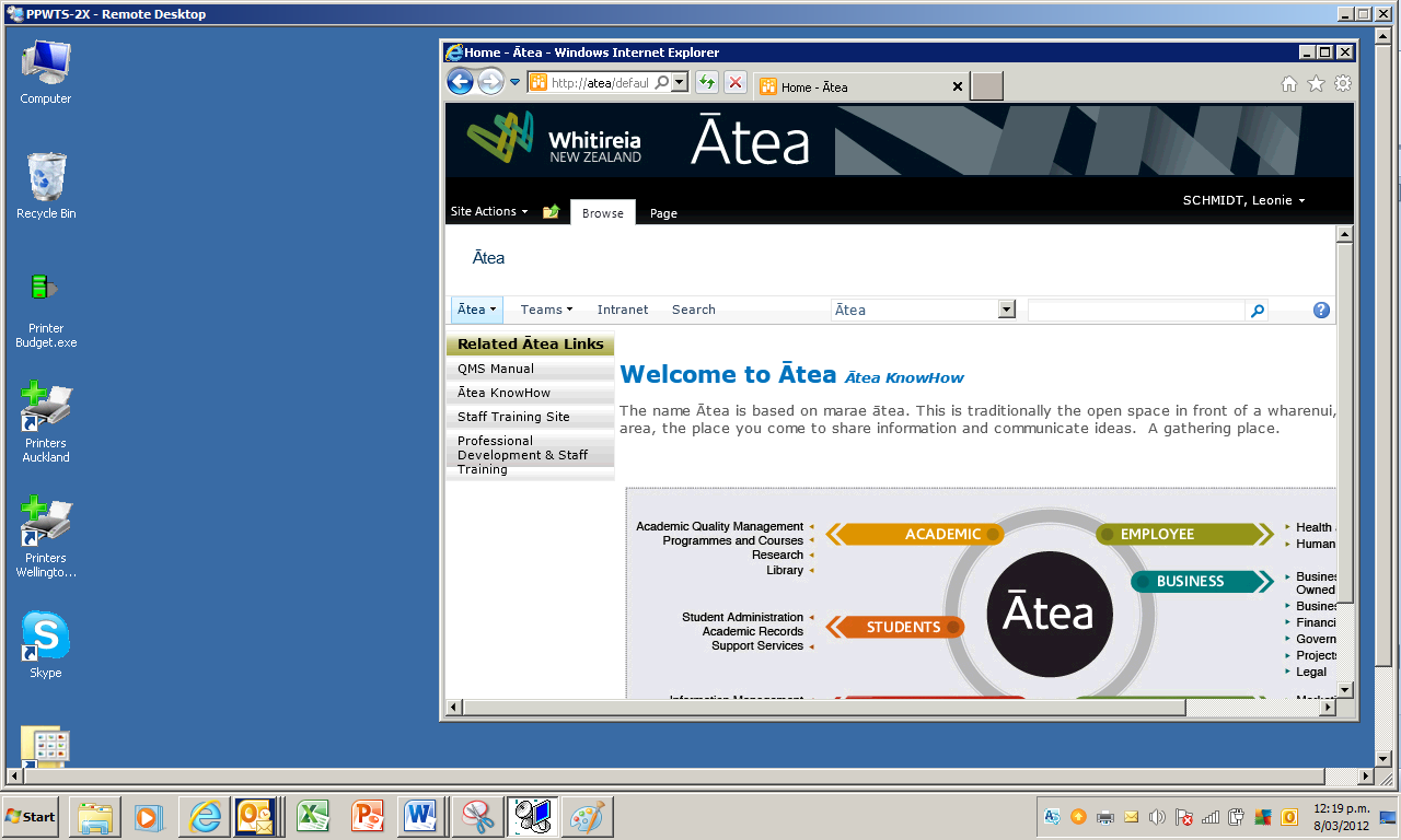 The Ātea home page should now appear in the second window Logging off the