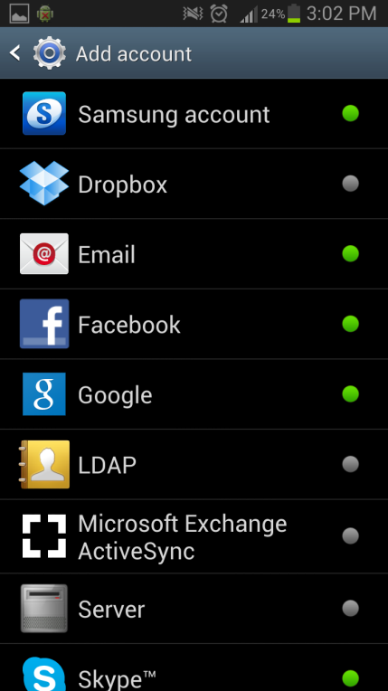 4. Select Microsoft Exchange ActiveSync. 5. Configure the exchange account by entering: Email: eg john.