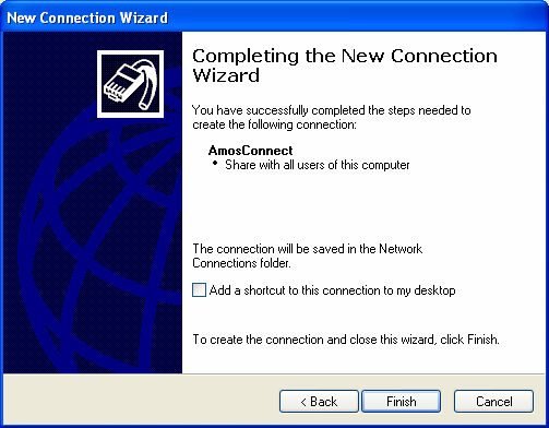 Press Finish to complete the Network Connection Wizard.
