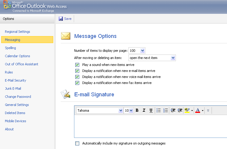 Junk e-mail filter. Just like the Outlook desktop client, you also have junk e-mail filter options within OWA.