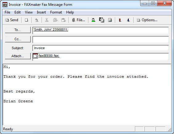 Using the GFI FaxMaker Client application Screenshot 3 - The GFI FaxMaker Fax Message form GFI FaxMaker Client application enables Fax message conversion and preview (.