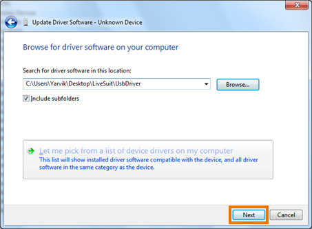 the USB Driver folder inside the earlier extracted YarvikLiveSuit folder and choose