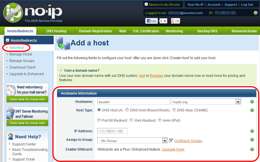 how to get domain host c