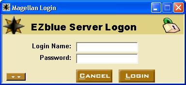 4 EZblue Magellan Desktop Enter your login name and password. If this your first time to login to the server, use admin for the login name and the password you entered during the install.