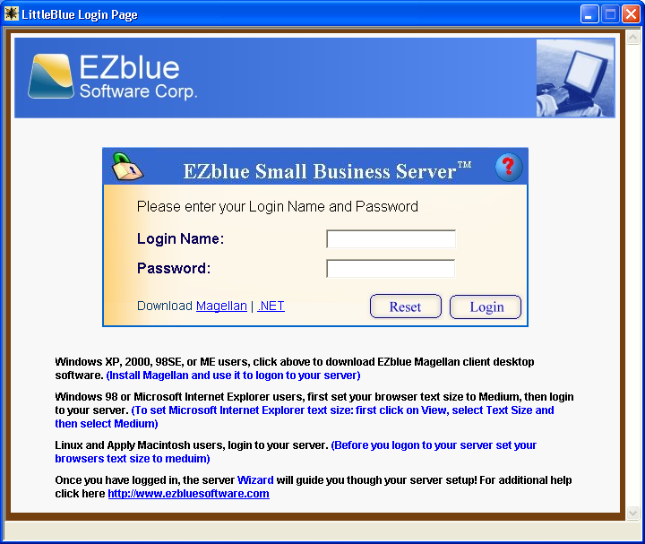 3 EZblue Server Configuration Step 1: From another PC on the same network, start Internet Explorer or Firefox browser. Enter the server IP address as shown in the following example: http://192.168.0.