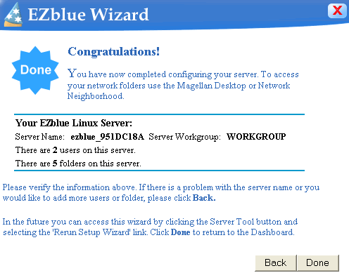 3 EZblue Server Configuration : Enter a name for each folder that you want to keep on the server and click Apply. Add as many folders as you think you may need. When finished, click Next.