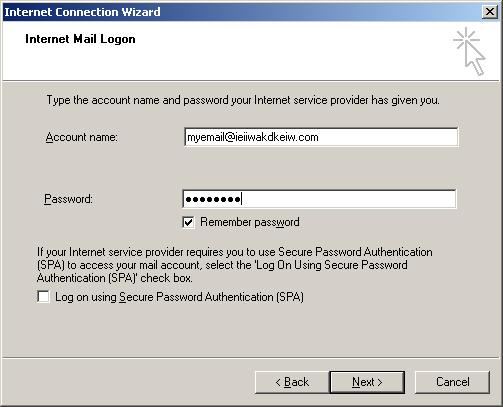 6. Internet Mail Logon Enter your Full email address and the password you used when creating your mailbox